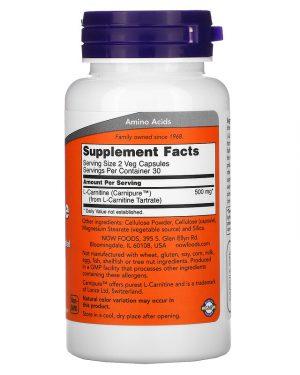 L-Carnitine 250 mg, 60 Capsules