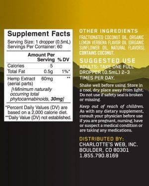 Charlotte's Web CBD Oil: 60mg CBD/1ml (Lemon Twist)