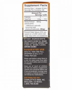 Charlotte's Web CBD Oil: 60mg CBD/1ml (Orange Blossom)