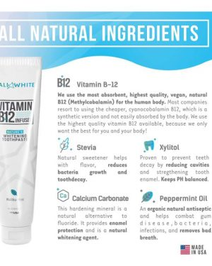 Cali Whitening Toothpaste with Vitamin B12, Organic Mint, Fluoride-Free